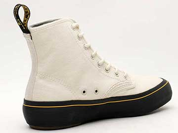 QUEX MONET 8EYE BOOT(23548115)BONE CANVAS 右斜め後ろ向き写真