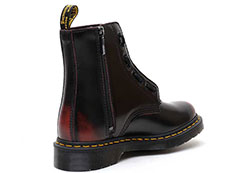CORE PASCAL FRONT ZIP 8EYE BOOT(24330600)CHERRY RED ARCADIAの右斜め後ろ向き・インサイドジップ部分写真