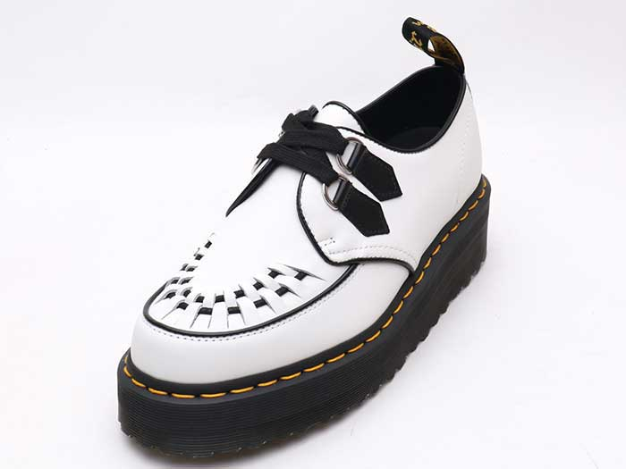 CHUNKY WEDGE PLUS SIDNEY 2EYE SHOE(24994101)WHITE+BLACK POLISHED SMOOTHのメイン商品写真