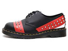 CORE APPLIQUE 1461 STUD 3EYE SHOE(25662001)BLACK+RED+WHITEの左横向き写真