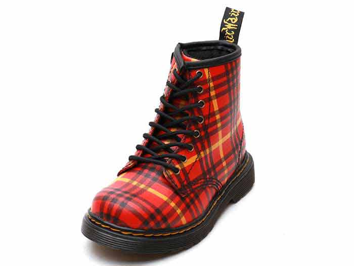 CORE KIDS 1460 TARTAN T INFANTS LACE BOOT(25833602)RED+MULTI TARTAN BACKHAND STRAW GRAINのメイン商品写真