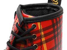 CORE KIDS 1460 TARTAN T INFANTS LACE BOOT(25833602)RED+MULTI TARTAN BACKHAND STRAW GRAINの履き口部分写真