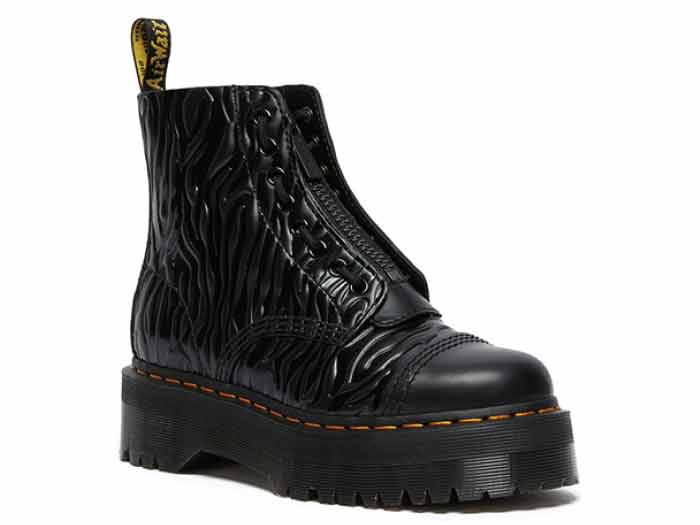 QUAD RETRO SINCLAIR JUNGLE BOOT(26704001)BLACK SMOOTH+ZEBRA GLOSS EMBOSS SMOOTHのメイン商品写真