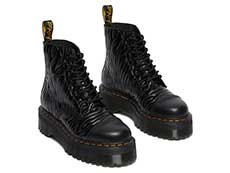 QUAD RETRO SINCLAIR JUNGLE BOOT(26704001)BLACK SMOOTH+ZEBRA GLOSS EMBOSS SMOOTHの右斜め前向き写真