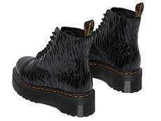 QUAD RETRO SINCLAIR JUNGLE BOOT(26704001)BLACK SMOOTH+ZEBRA GLOSS EMBOSS SMOOTHの左斜め後ろ向き写真
