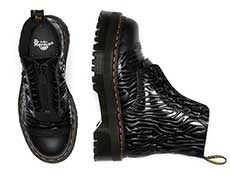QUAD RETRO SINCLAIR JUNGLE BOOT(26704001)BLACK SMOOTH+ZEBRA GLOSS EMBOSS SMOOTHの上からの写真