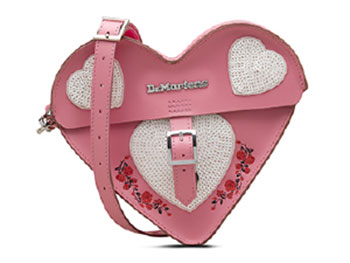 HEART SATCHEL(AB002650) GERANIUM PINK+WHITE SMOOTH&SEQUIN PATCHのメイン商品写真